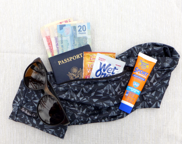 FestiBelt: A fabric pocket belt full of travel items.